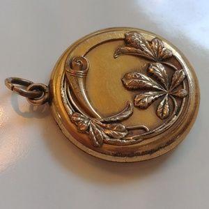 Antique Art Nouveau Gold Vermeil Locket Pendant